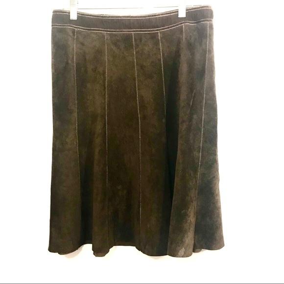 Anthropologie June Brown Suede Flared Skirt